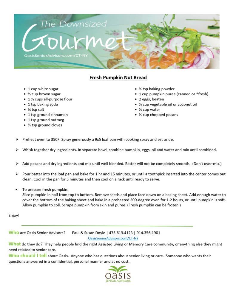 CT NY Blog Fresh Pumpkin Nut Bread